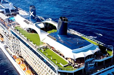 An aerial view of Celebrity Reflection's top deck.