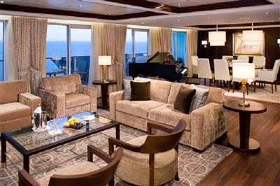 Sofas, armchairs, mood lighting and a piano on Celebrity Reflection.