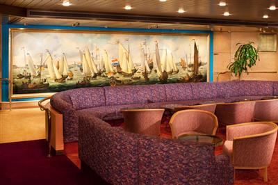 The comfy seats in the Explorer's Lounge on the Upper Promenade Deck