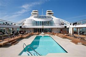 The Pool Patio, pool and whirlpools on deck 8 onboard Seabourn Sojourn