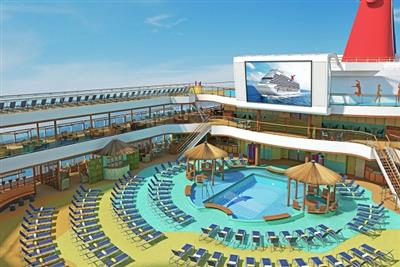 The Seaside Theatre, a massive 270-foot screen placed above the outdoor swimming pool onboard Carnival Sunshine.