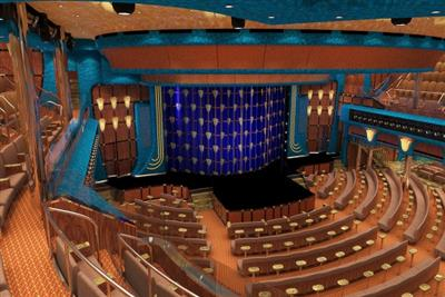 An aerial view of the huge theatre onboard Carnival Sunshine.