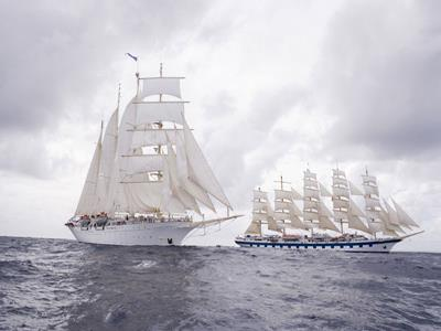 Two ships by Star Clippers sailing next one another