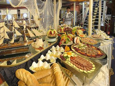 A lunch buffet on the Royal Clipper