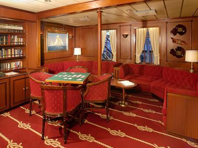 The Edwardian library on the Royal Clipper