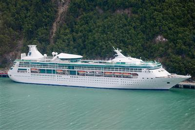 Another exterior view of the Rhapsody of the Seas by Royal Caribbean,  starboard side