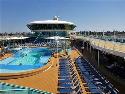 The deck chairs surrounding the main pool on the Rhapsody of the Seas