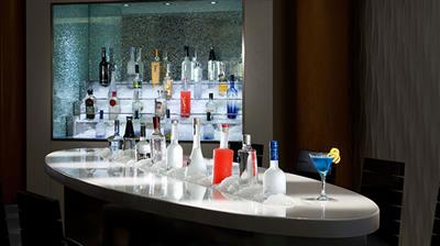 A close-up of the counter at the Martini Bar on Celebrity Millennium