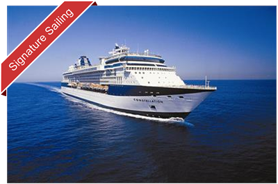 Celebrity Constellation sailing, bow perspective