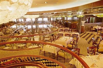 The  Tiziano  Restaurant on Costa Atlantica spans on two levels