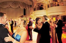 The Queens Room, a grand ballroom hosting afternoon teas and themed balls on the Queen Elizabeth