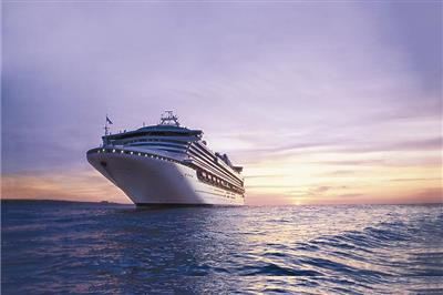 Sapphire Princess sailing in the sunset