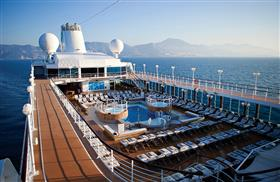 An aerial view of the outdoor pool on-board of the Azamara Quest.
