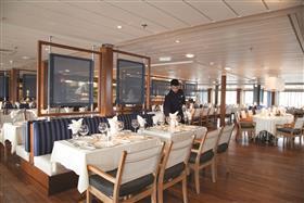 The Verandah restaurant, a less formal dining option on the Saga Pearl II