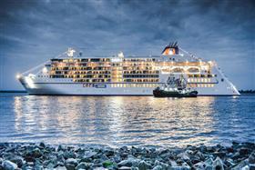 MS Europa 2 sailing at night