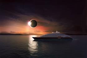 Scenic Eclipse sailing under a real eclipse in progress