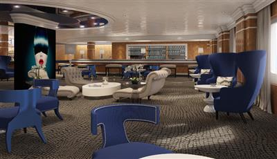 Raffles, a lounge bar on  the main deck of Columbus by Cruise and  Maritime