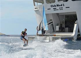 Water skiing on Club Med2  thanks to the equipped marina zone