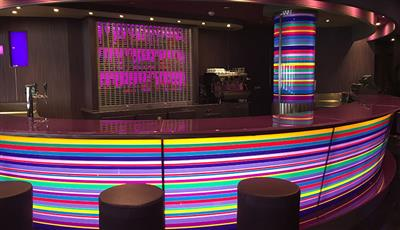 The bar counter of the Purple Jazz Bar