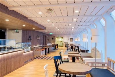 The Panorama Café on the MS Kong Harald by Hurtigruten
