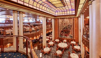 Another view  of the Britannia Restaurant, the formal dining venue on Cunard's Queen Mary 2