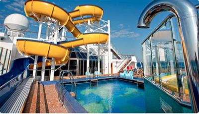 Yellow slides ending in Lido Bamba's pool on  Costa Pacifica
