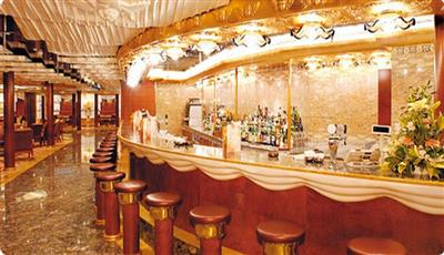 Stalls and counter  of the Bar Casanova on Costa Mediterranea