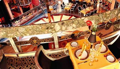 The balcony seating area of Club Medusa, the restaurant on Costa Mediterranea's deck 11