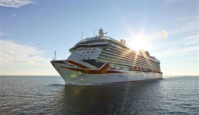 Britannia by P&O sailing in the sun