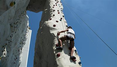 The Rock Wall, a climbing surface on deck 13 of the Independence of the Seas