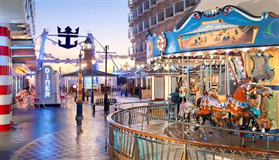 The merry-go-round in the amusement park dedicated to kids on the Allure of the Seas