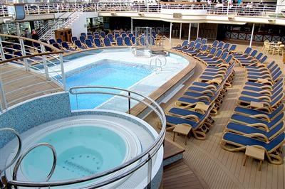 An aerial view of the outdoor adults' pool on-board of the Azura.