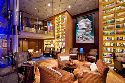 The library onboard Celebrity Reflection is elegant and cozy.