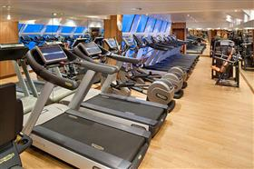 The gym on Seabourn Quest's deck 9 (personal trainer available)
