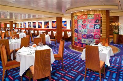 Alizar, a dining room seating 300 guests, midship on deck 6