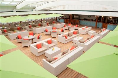 White couches on Crystal Symphony's deck