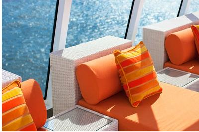 Orange lounge chairs  from Crystal Spa