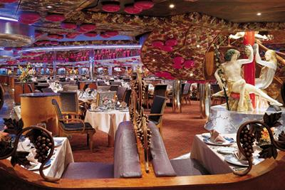 Tables set for dinner at the Bacchus Restaurant onboard Carnival Miracle.
