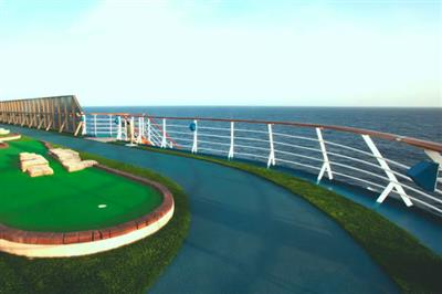 Jogging track and mini golf course onboard Carnival Miracle.