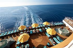 An aerial view of the whirpools onboard Carnival Glory.
