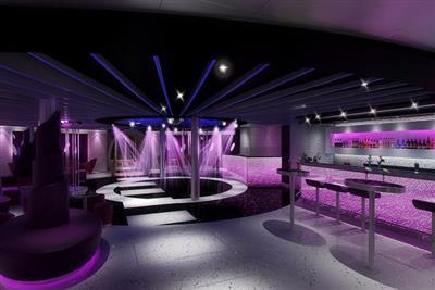 Liquid Lounge, the nightclub onboard Carnival Sunshine.