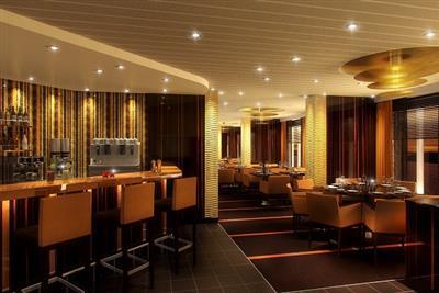 Carnival Sunshine's restaurants, here the Steakhouse's stylish interior design.