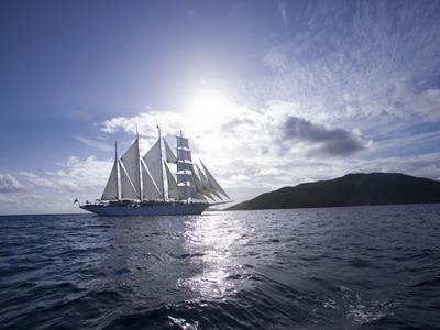 The Royal Clipper in the golden hour