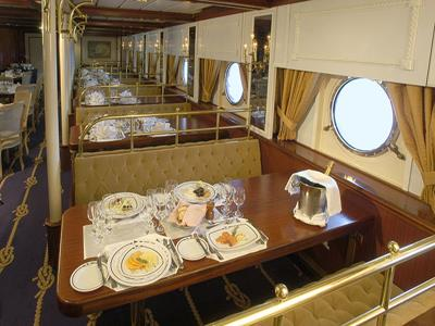 A table in the main dining room of the Royal Clipper