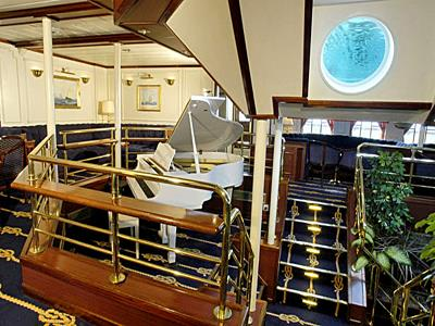 The white piano in the Royal Clipper's piano bar