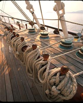 Detail of the nautical ropes holding the sails on the Royal Clipper five masts