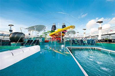 The Aqua Park, spanning from deck 18 to deck 15 of the Norwegian Epic