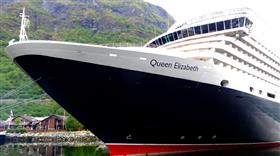 Close-up of the bow of Cunard's Queen Elizabeth