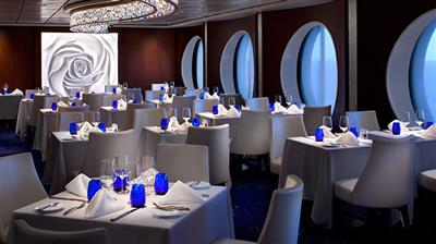 The Blue Restaunt, an elegant venue on Celebrity Millennium.