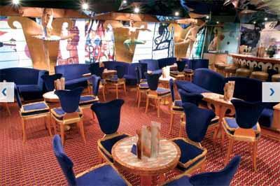 The blue velvet chairs of Sala da Ballo Spoteto, the dance floor on Costa Magica